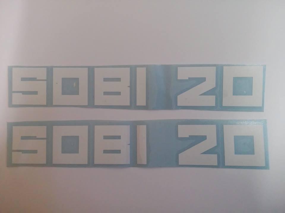 Nálepky SOBI 20 - biele