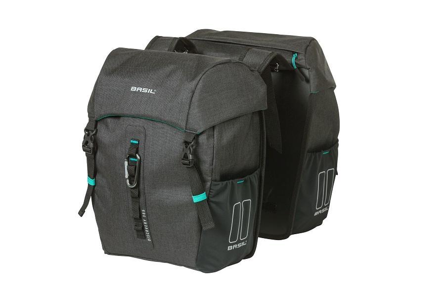 dvoj brasna na zadny nosic bicykla basil discovery 365d double bag m v